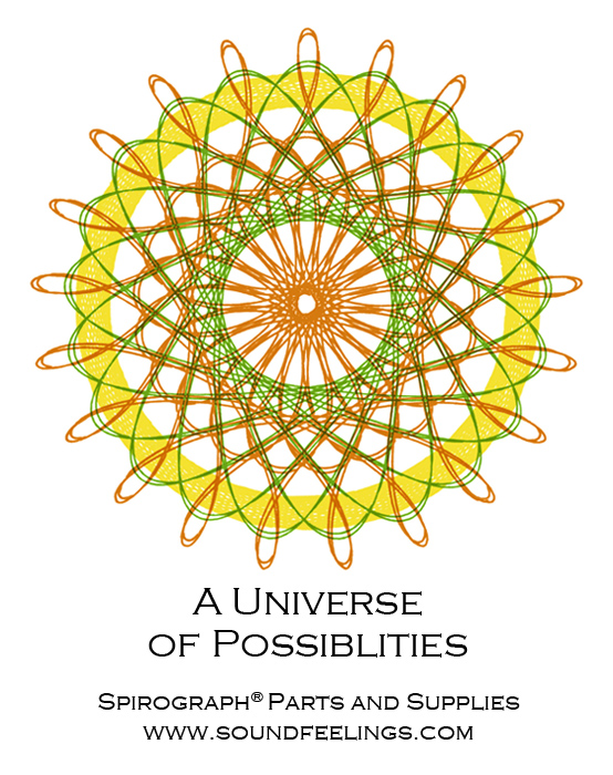 A Universe of Possiblities. From the new 10-color instruction booklet: Drawing with the Spirograph® Multicolor Pen. #spirograph #10colorpens http://www.spirograph-parts.com/spirograph-booklets/spirograph-multicolor-booklet